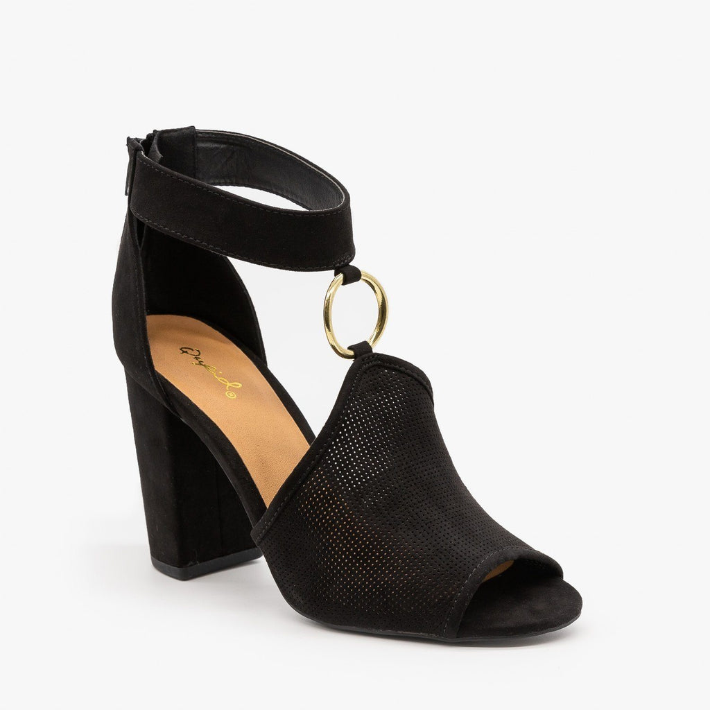 Womens Textured Chunky Heels - Qupid Shoes - Black / 5