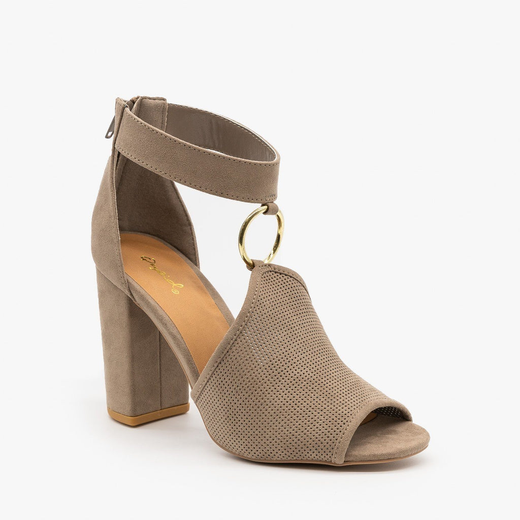 Womens Textured Chunky Heels - Qupid Shoes - Taupe / 5