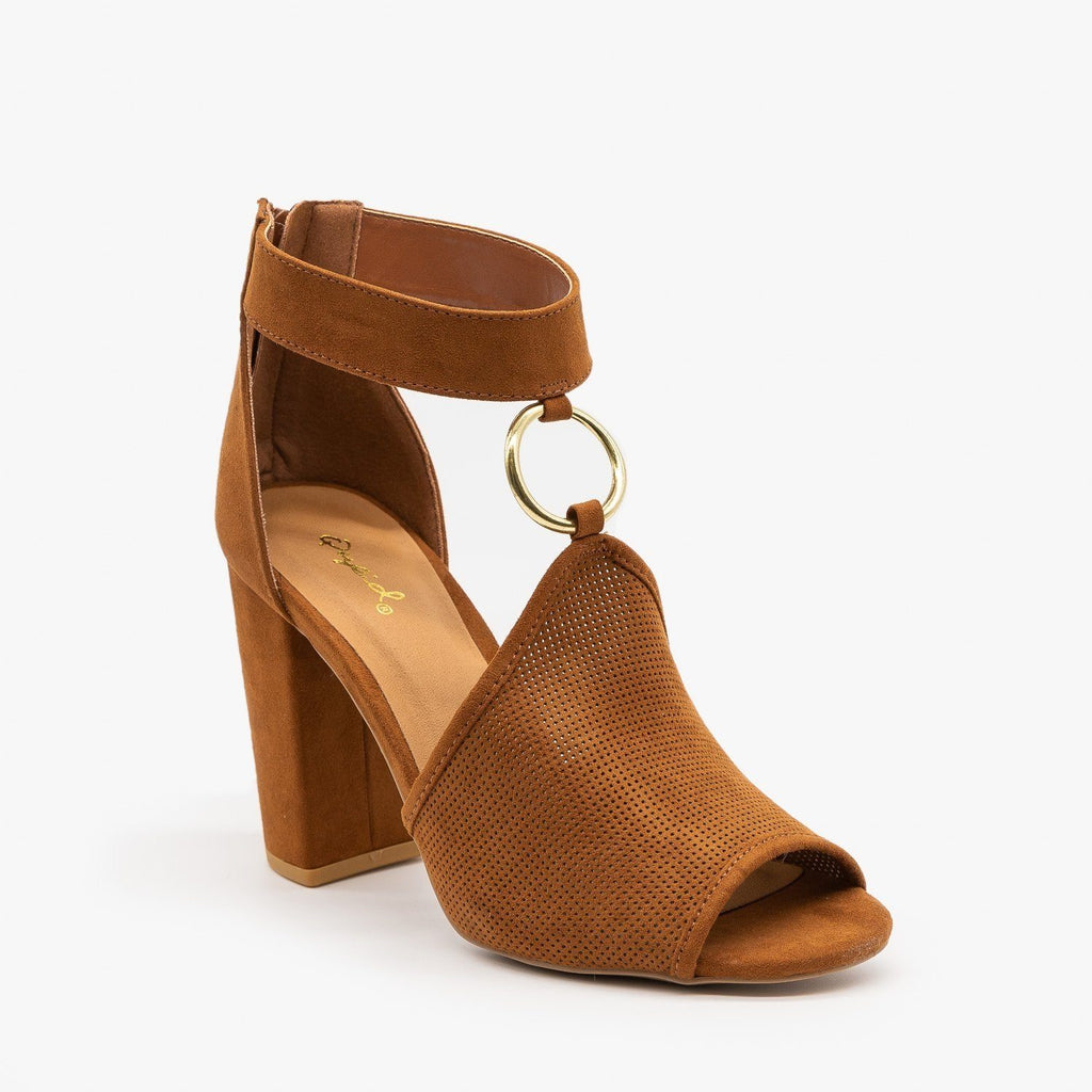 Womens Textured Chunky Heels - Qupid Shoes - Chestnut / 5