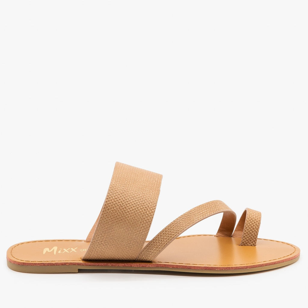 Womens Textured Cross Strap Sandals - Mixx Shoes - Camel / 5