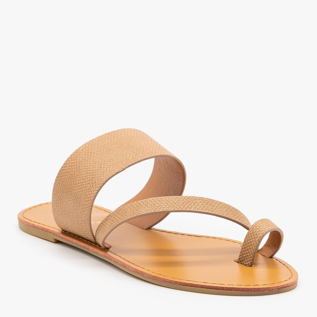 Womens Textured Cross Strap Sandals - Mixx Shoes