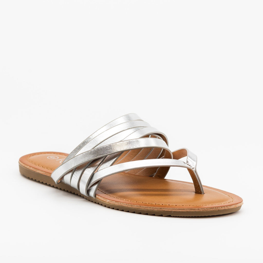 Womens Textured Metallic Strappy Sandals - Refresh - Silver / 5