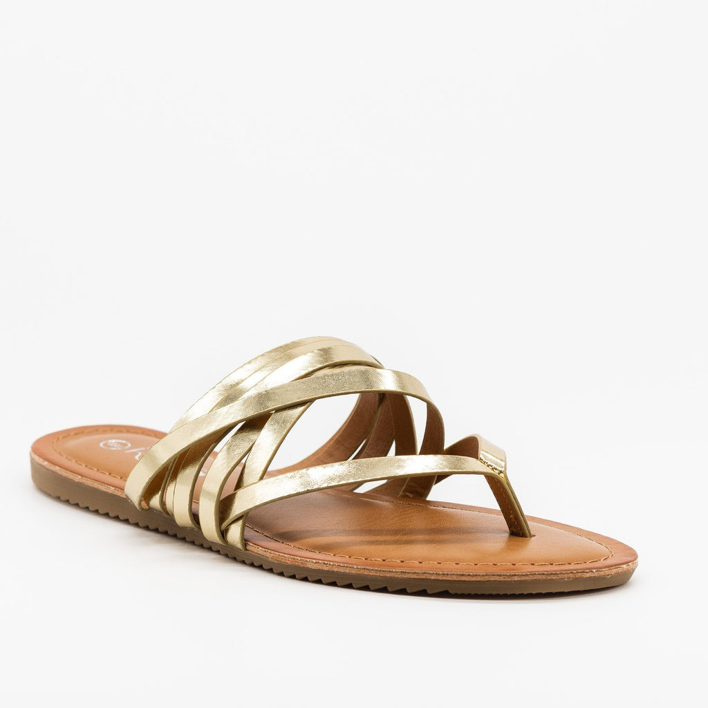 Womens Textured Metallic Strappy Sandals - Refresh - Champagne / 5