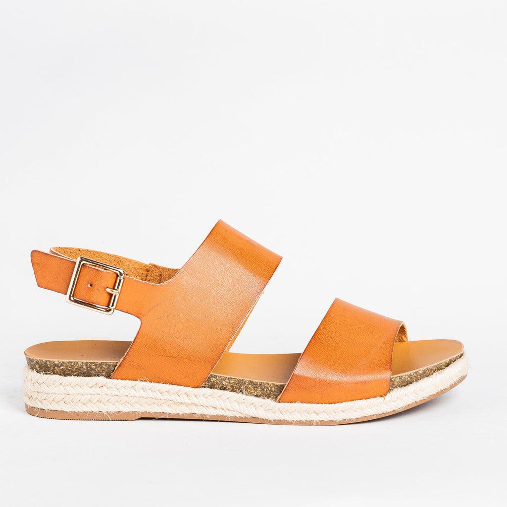 Womens Thick Band Espadrille Sandals - Soda Shoes - Tan / 5