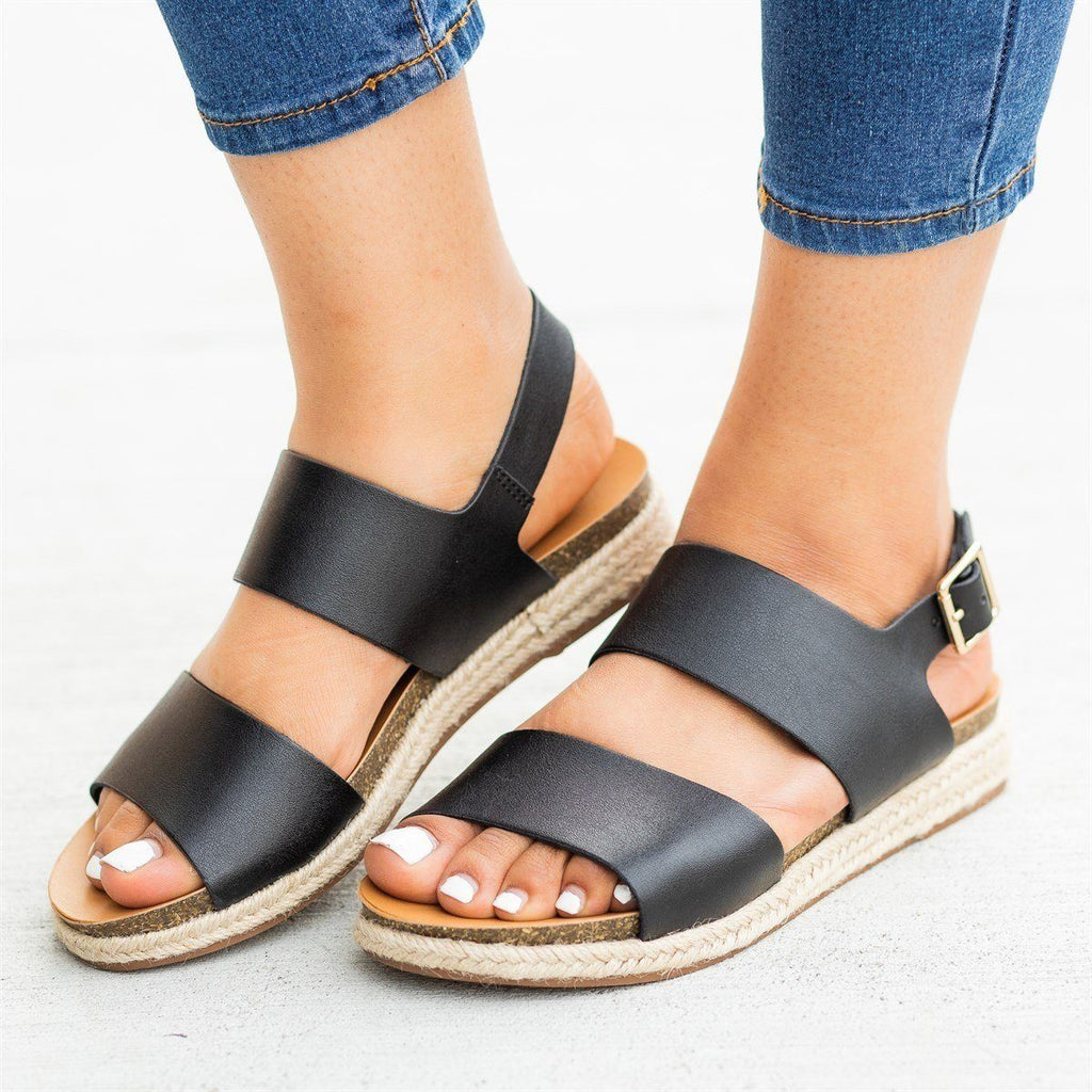 Womens Thick Band Espadrille Sandals - Soda Shoes