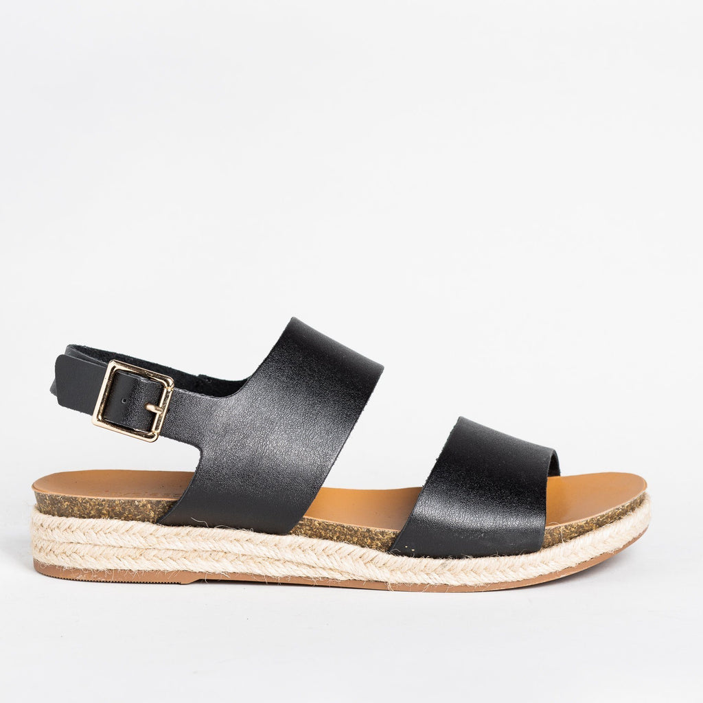 Womens Thick Band Espadrille Sandals - Soda Shoes - Black / 5
