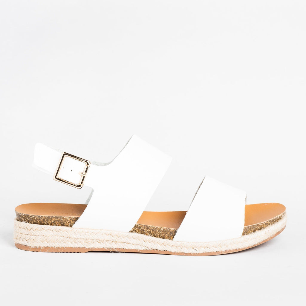 Womens Thick Band Espadrille Sandals - Soda Shoes - White / 5
