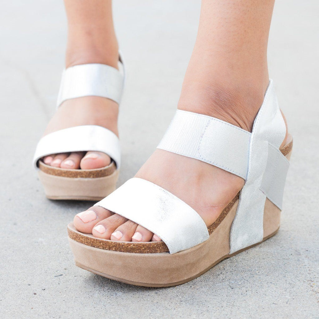 Womens Thick Double Strap Wedge - Nature Breeze - Silver / 5