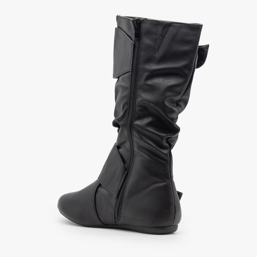 Womens Thick Strap Buckle Boots - Forever