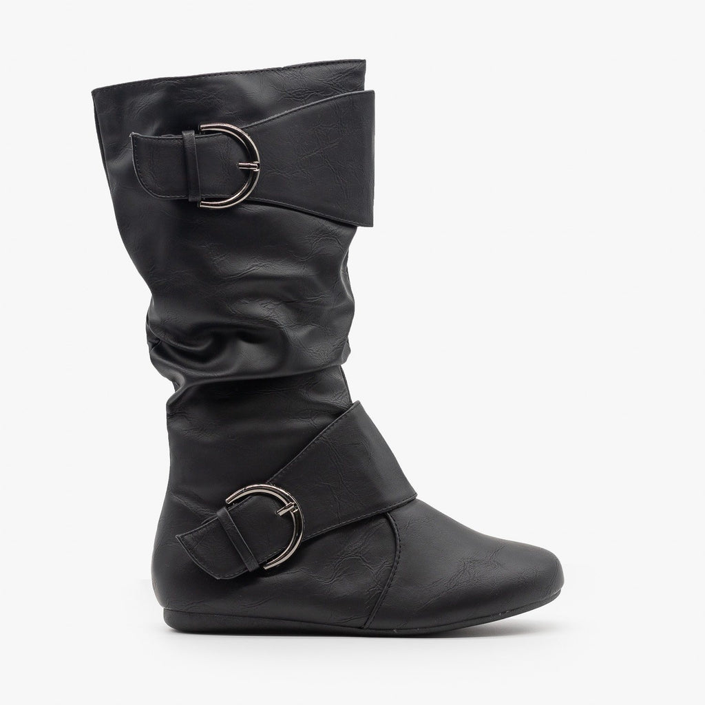 Womens Thick Strap Buckle Boots - Forever - Black / 5