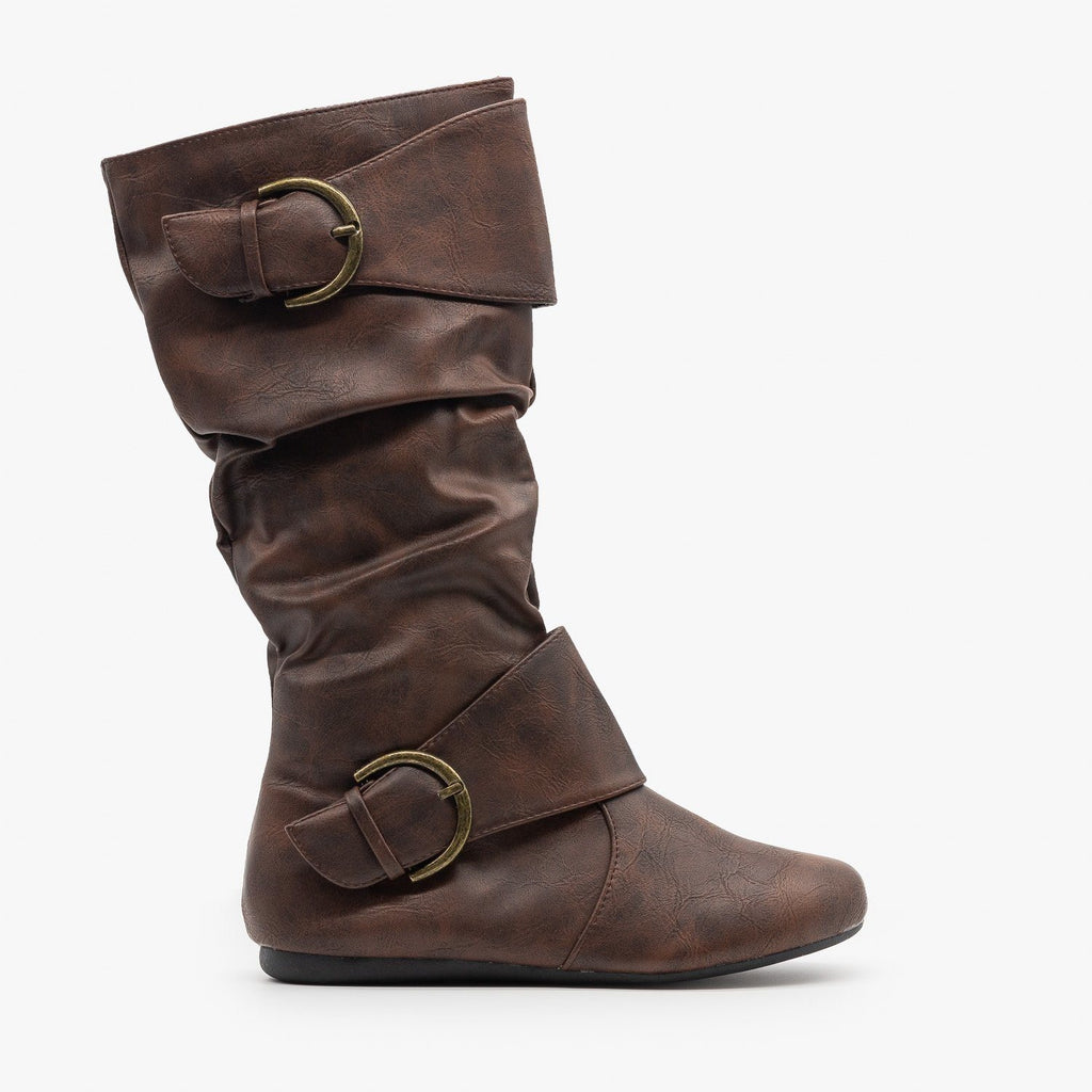 Womens Thick Strap Buckle Boots - Forever - Brown / 5