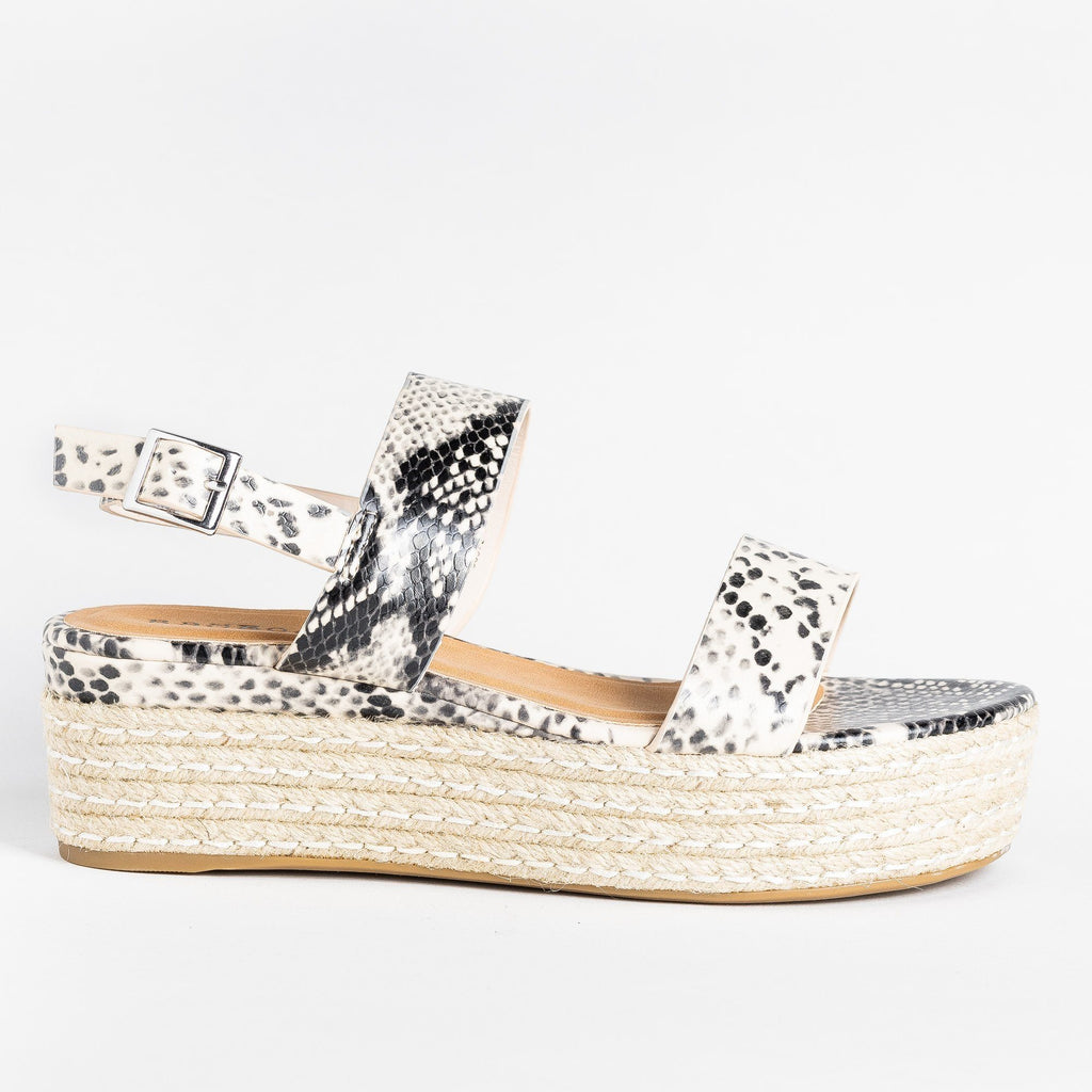 Womens Thick Strap Espadrille Flatforms - Bamboo Shoes - Beige Snake / 5