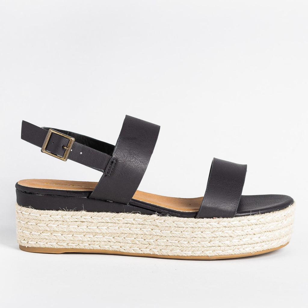 Womens Thick Strap Espadrille Flatforms - Bamboo Shoes - Black / 5
