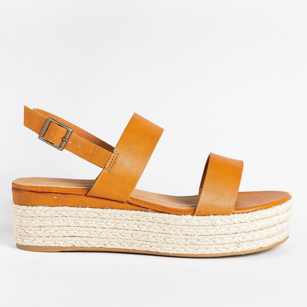 Womens Thick Strap Espadrille Flatforms - Bamboo Shoes - Tan / 5