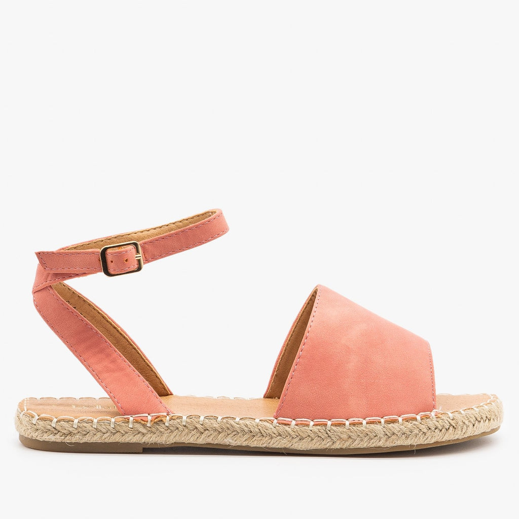 Womens Thick Strap Open-Toe Espadrille Sandals - Bella Marie - Coral / 5