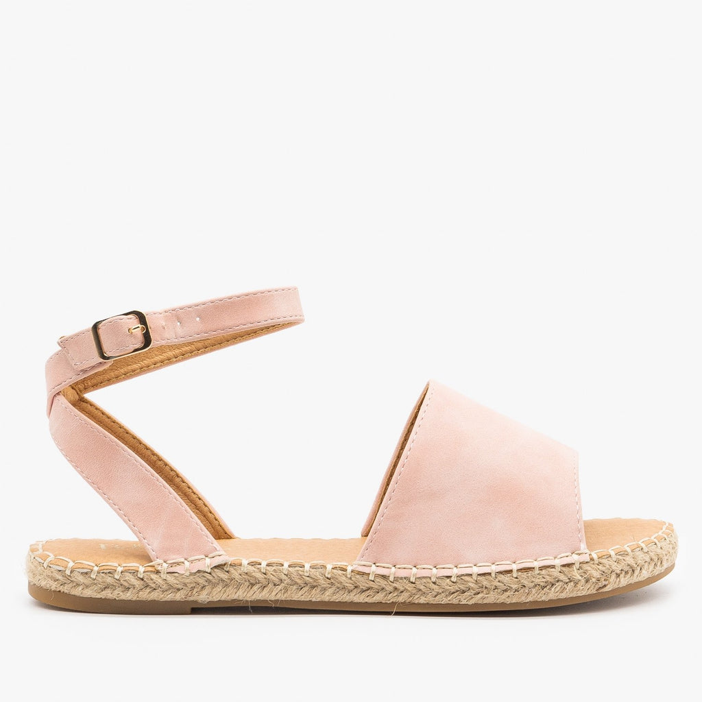 Womens Thick Strap Open-Toe Espadrille Sandals - Bella Marie - Mauve / 5