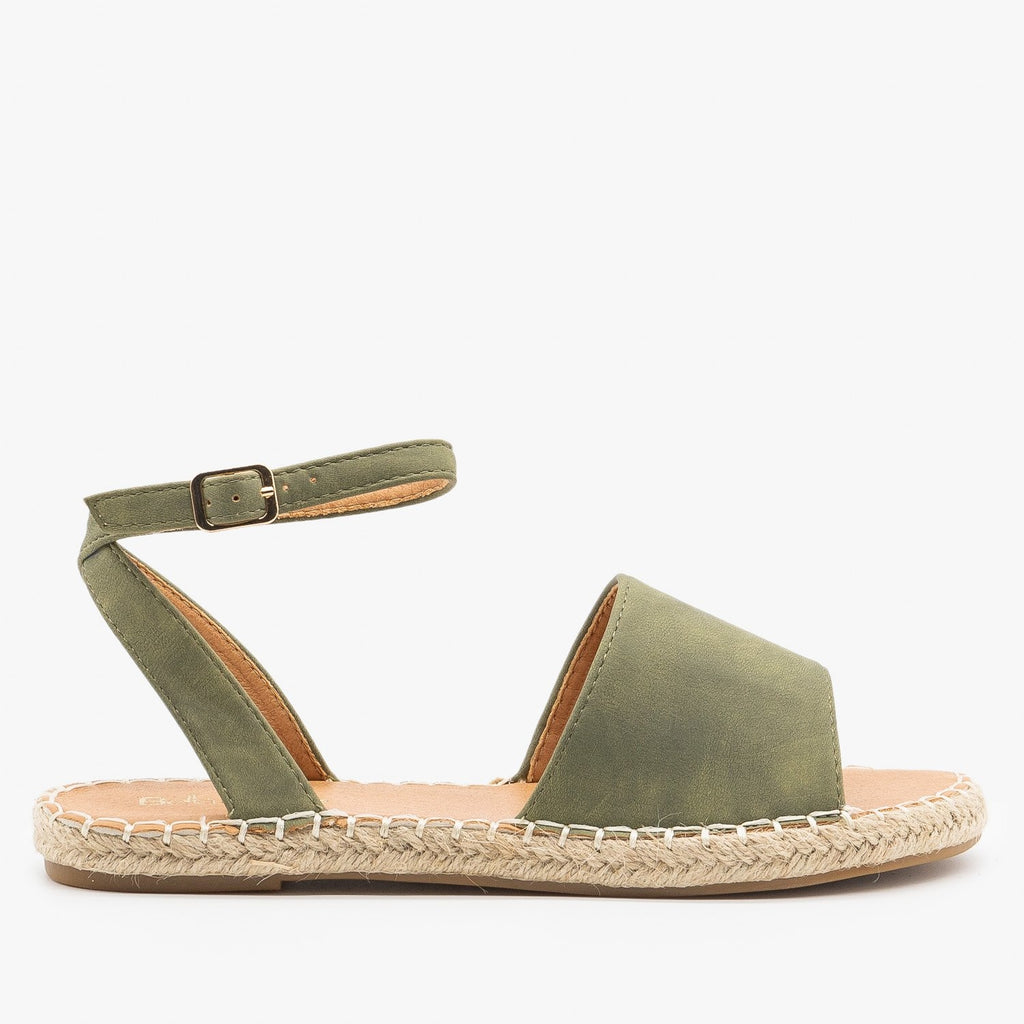 Womens Thick Strap Open-Toe Espadrille Sandals - Bella Marie - Light Olive / 5