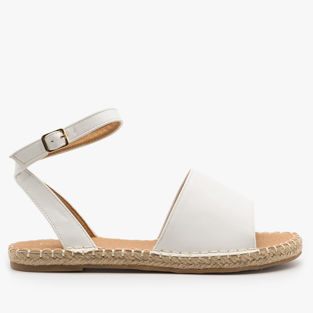 Womens Thick Strap Open-Toe Espadrille Sandals - Bella Marie - White / 5