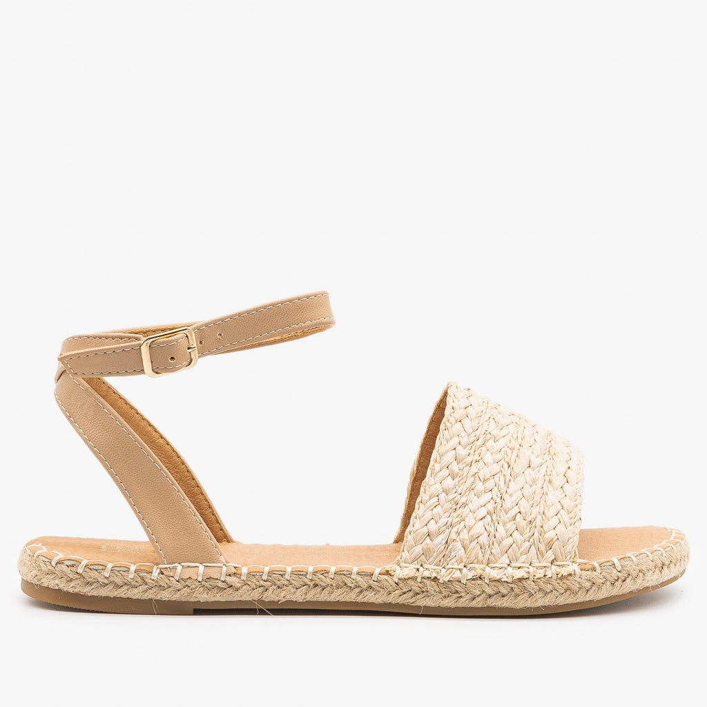 Womens Thick Strap Open-Toe Espadrille Sandals - Bella Marie - Beige / 5