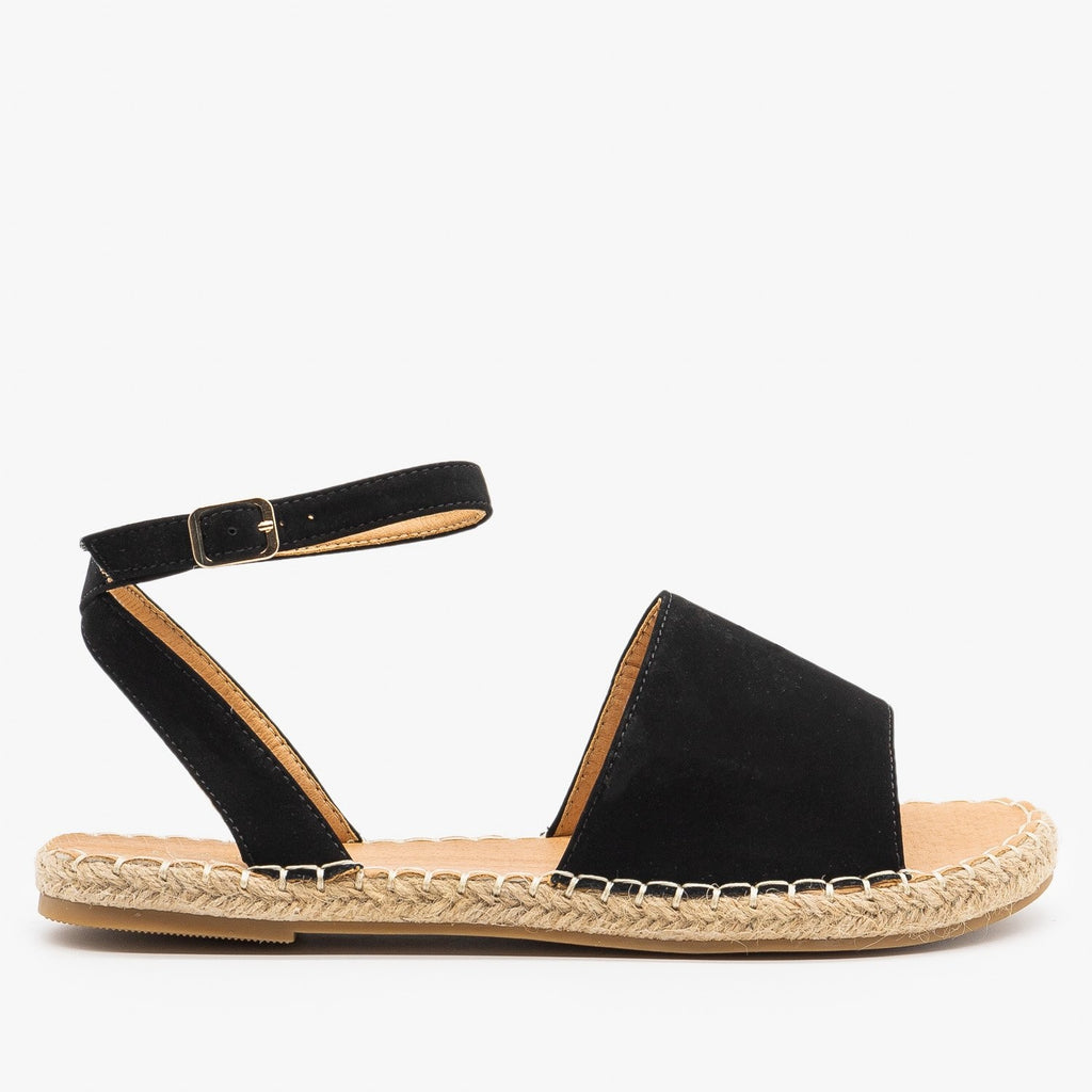 Womens Thick Strap Open-Toe Espadrille Sandals - Bella Marie - Black / 5