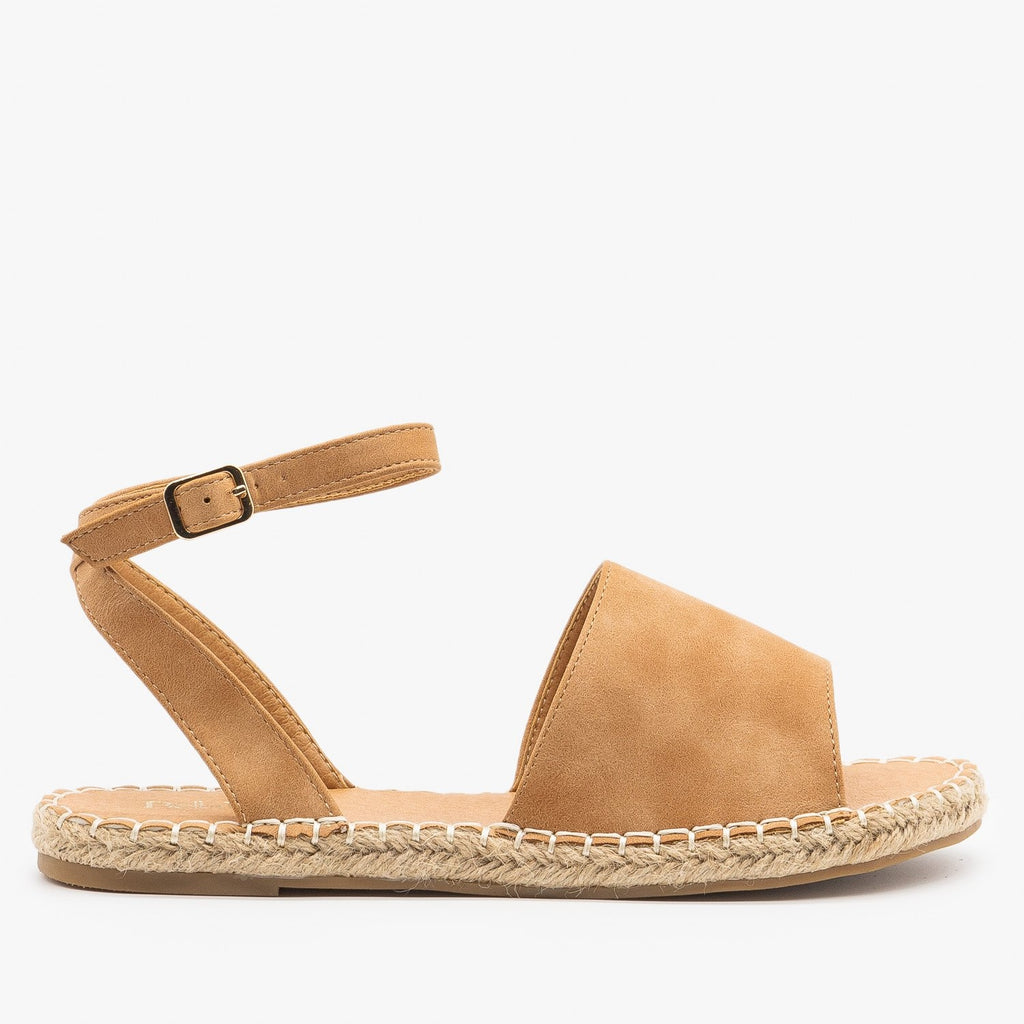 Womens Thick Strap Open-Toe Espadrille Sandals - Bella Marie - Chestnut / 5