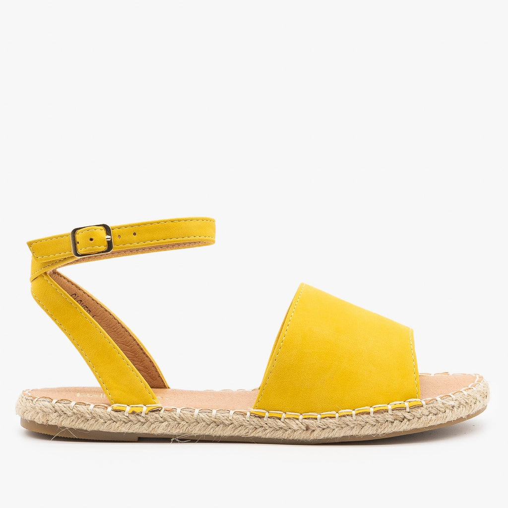 Womens Thick Strap Open-Toe Espadrille Sandals - Bella Marie - Yellow / 5