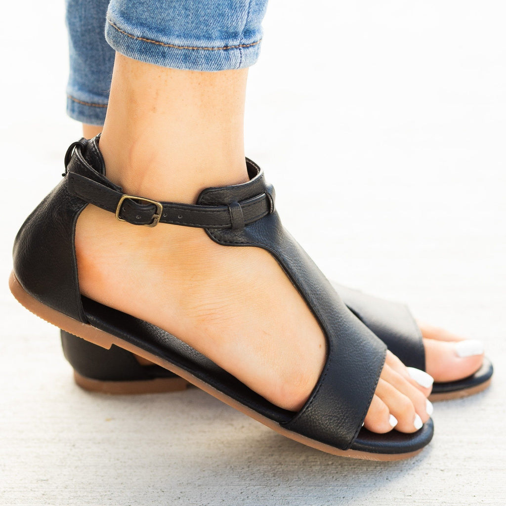 b2f3b42b4 Thick T-Strap Fashion Sandals - Mata Shoes Roman-2 | Shoetopia