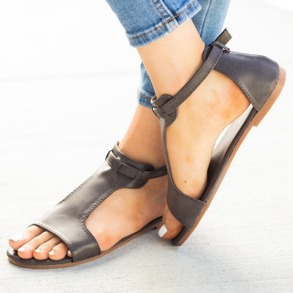 Womens Thick T-Strap Fashion Sandals - Mata - Pewter / 5
