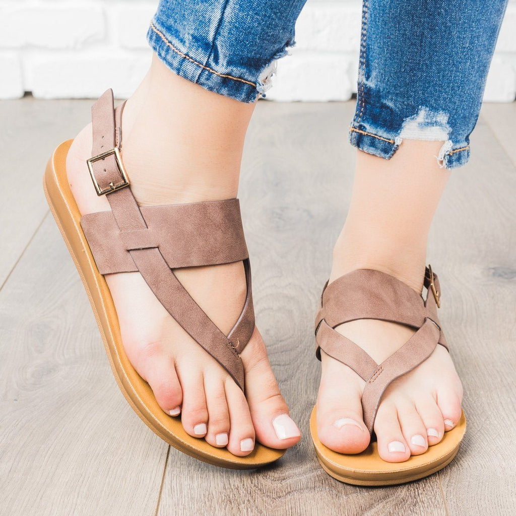 Womens Thong Style Slingback Sandals - Cherish - Brown / 10