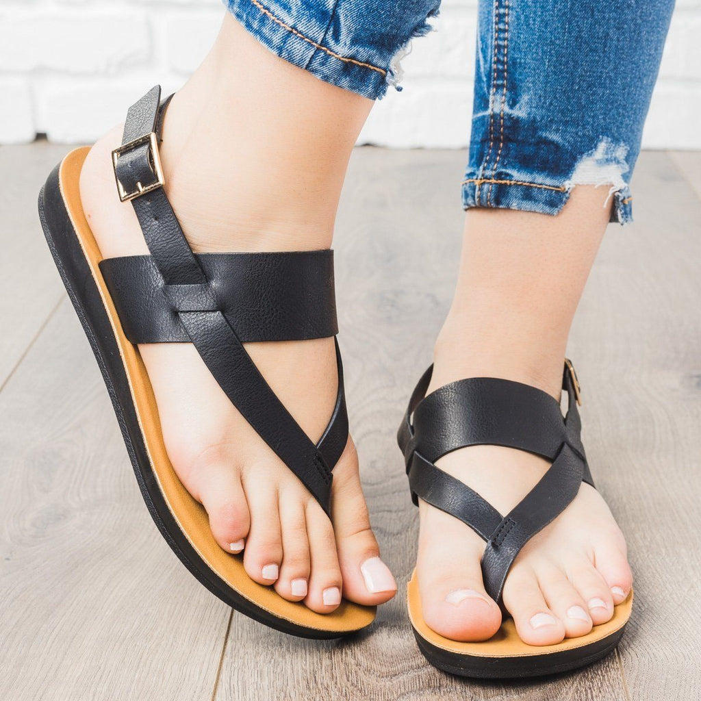 Womens Thong Style Slingback Sandals - Cherish - Black / 6.5
