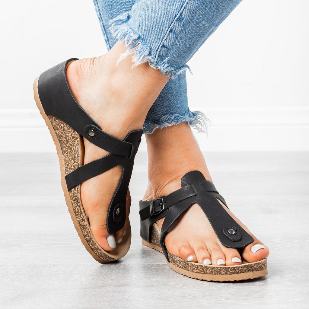 Womens Thong Wedge Sandals - Forever - Black / 5