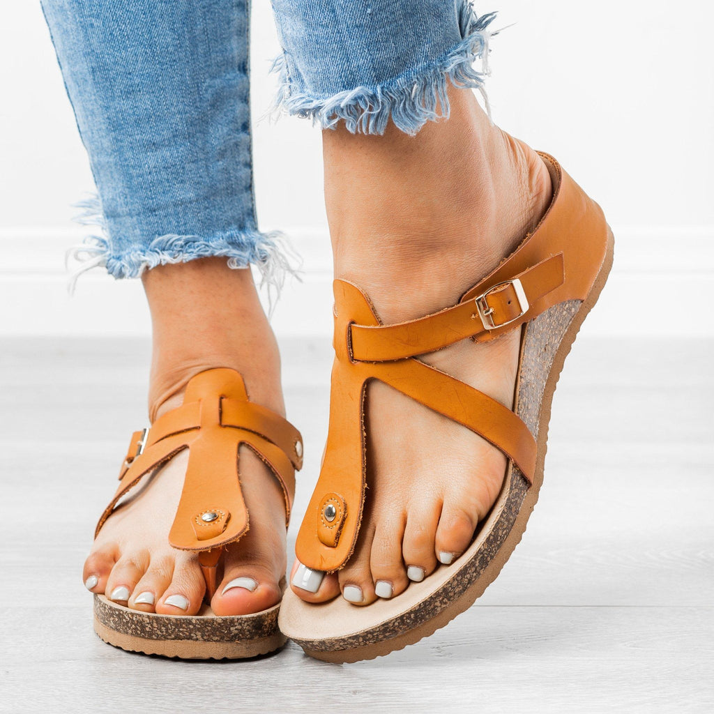 Womens Thong Wedge Sandals - Forever - Tan / 5