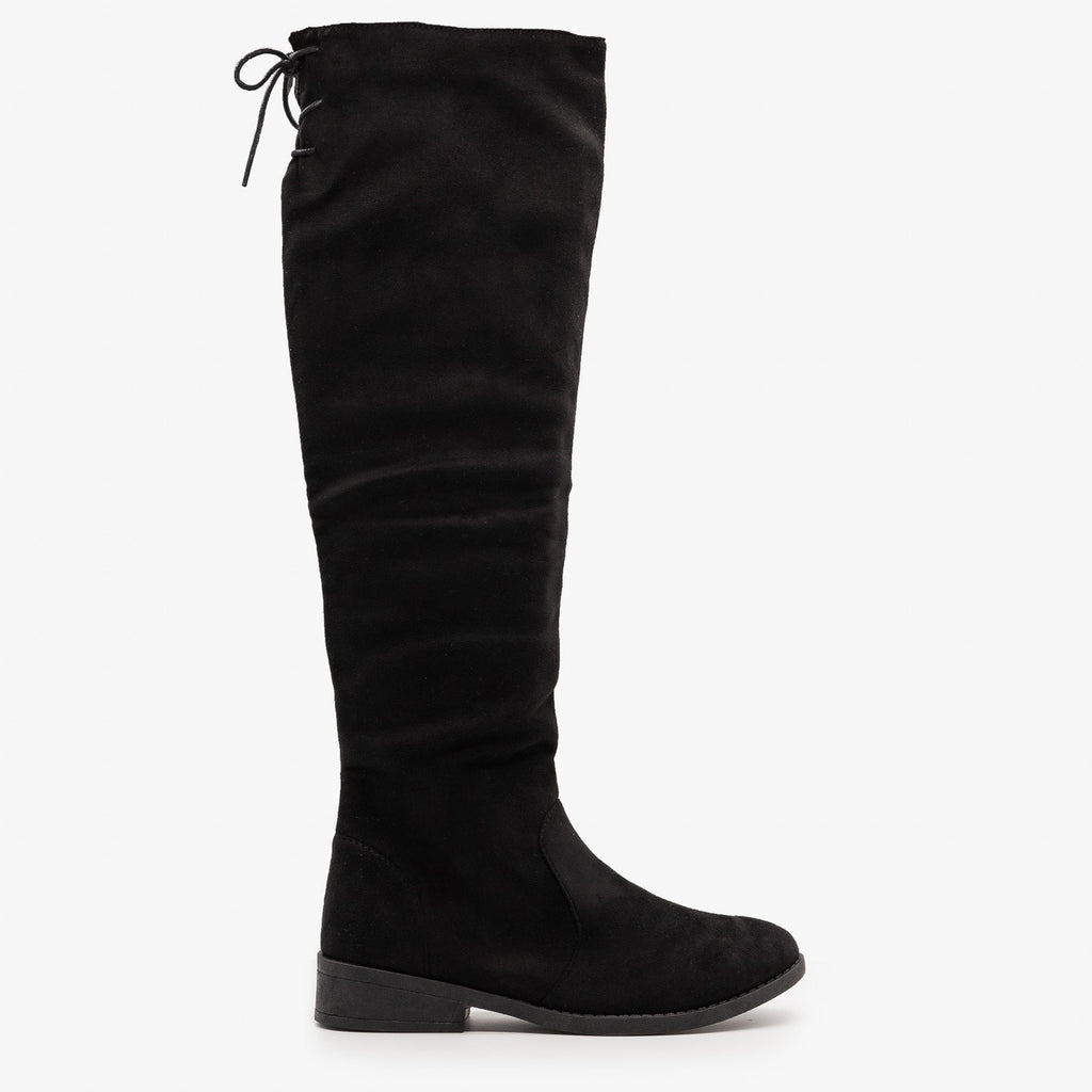 Womens Tie Back Knee High Boots - Weeboo - Black / 5