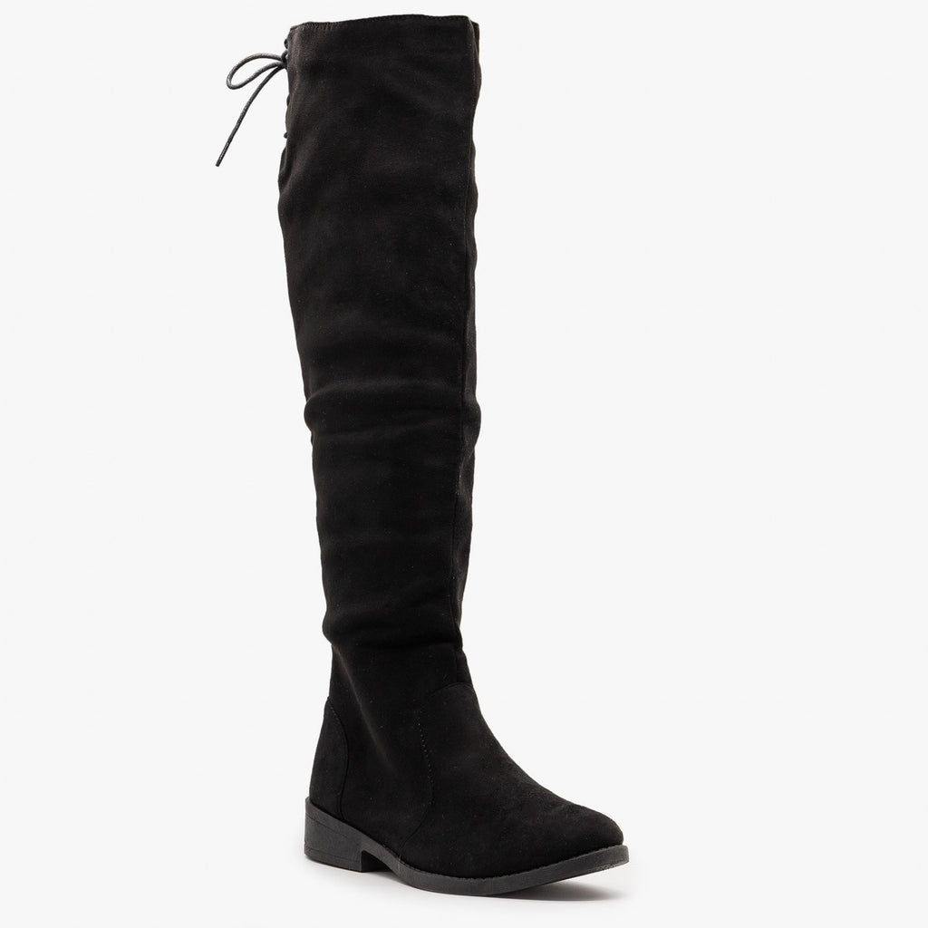 Womens Tie Back Knee High Boots - Weeboo