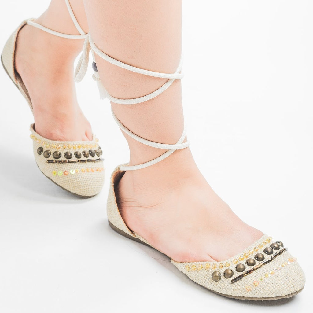 Womens Tie-Up Beaded Flats - Soda Shoes
