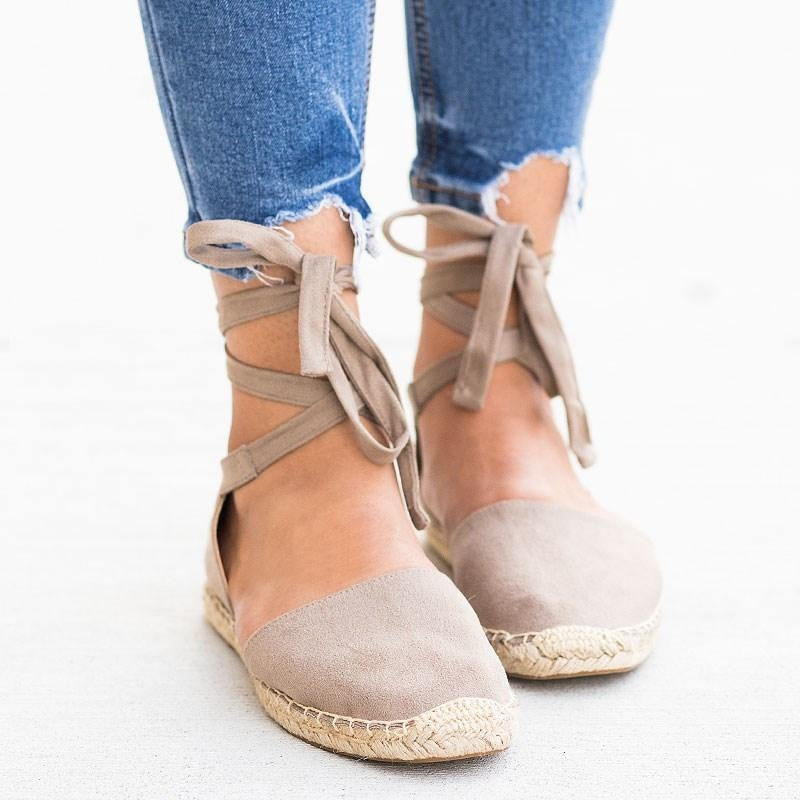 Womens Tie-Up Espadrille Flats - Soda Shoes - Dark Clay / 5