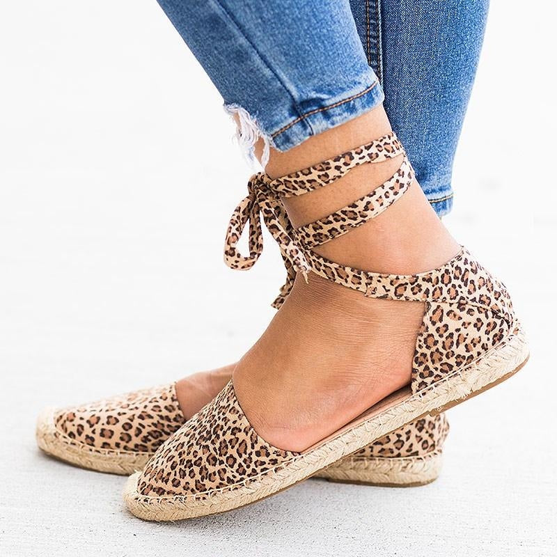 Womens Tie-Up Espadrille Flats - Soda Shoes - Oatmeal Cheetah / 5