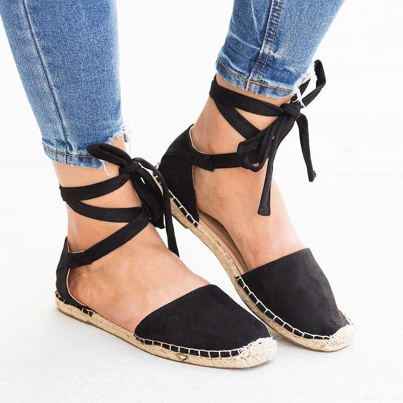 Womens Tie-Up Espadrille Flats - Soda Shoes - Black / 5