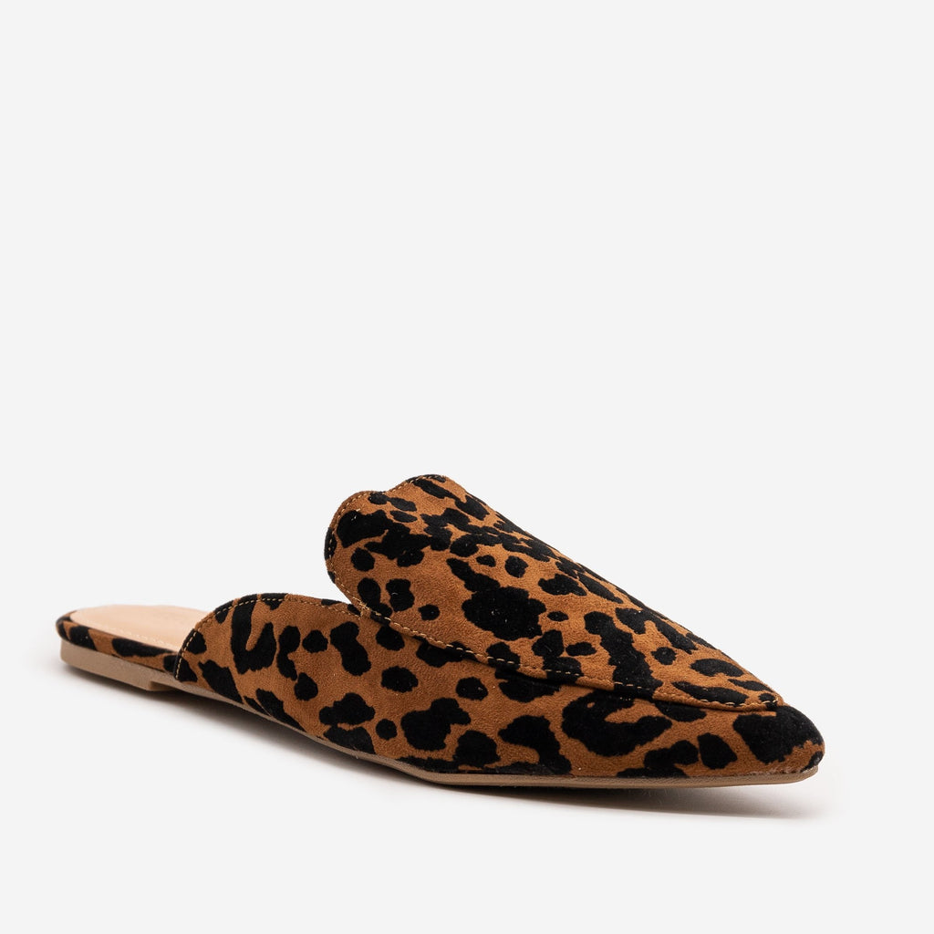 Women's Tiger Print Pointed Toe Mules - Mata - Tiger / 5