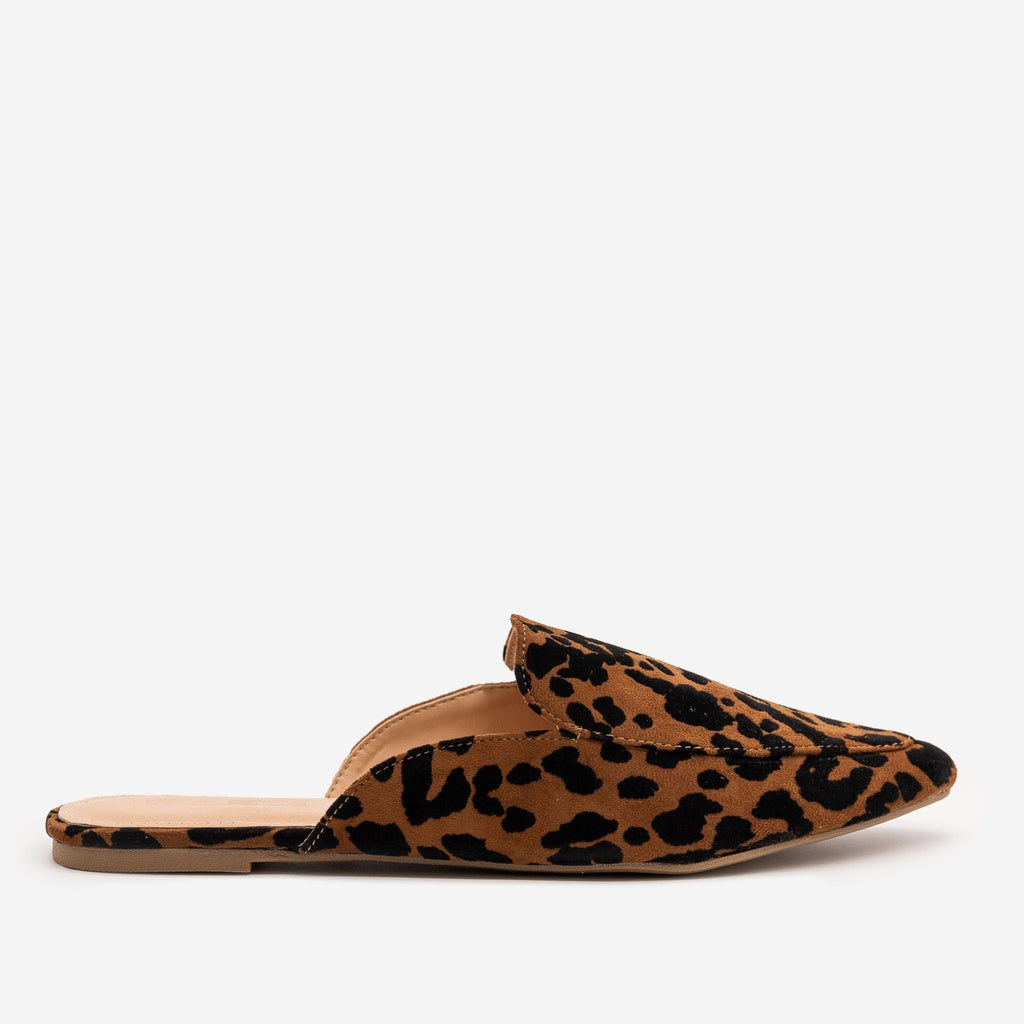 Women's Tiger Print Pointed Toe Mules - Mata