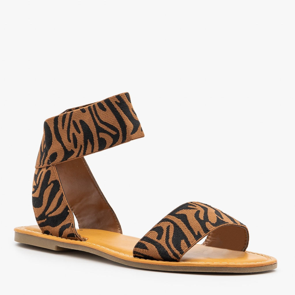 Womens Tiger Striped Elastic Sandals - Bamboo Shoes