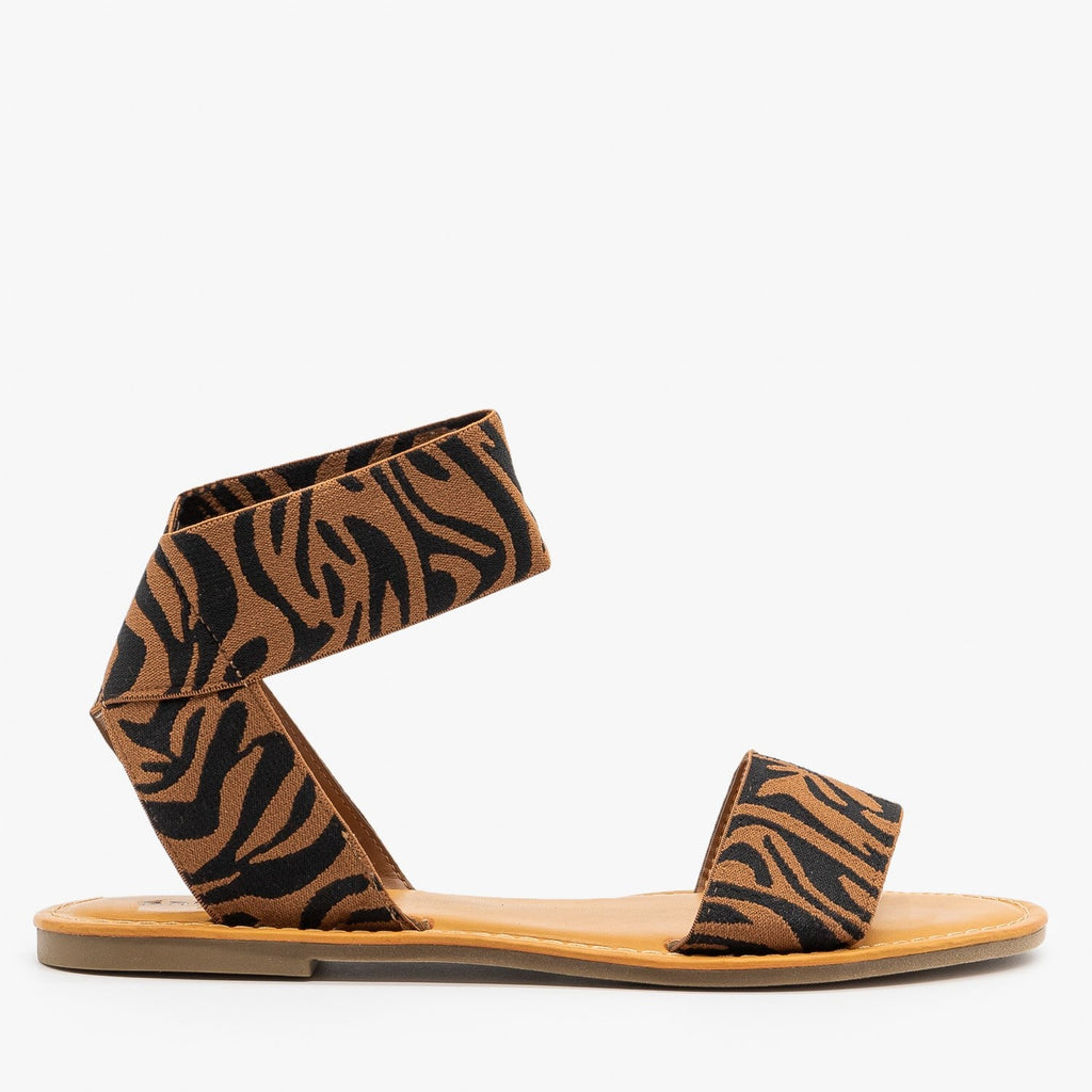 Womens Tiger Striped Elastic Sandals - Bamboo Shoes - Tiger / 5