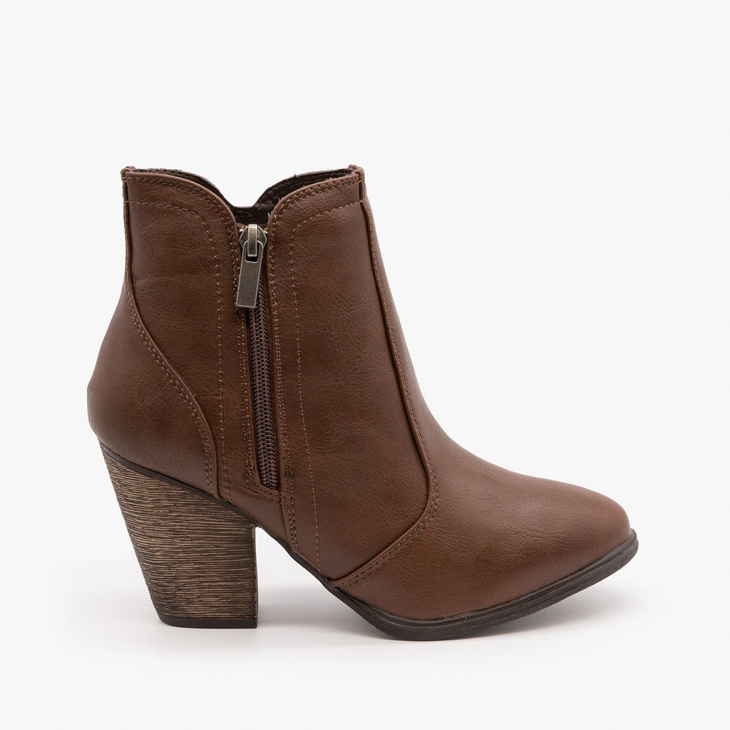 Womens Timeless Heeled Booties - Dollhouse Shoes - Brown / 5