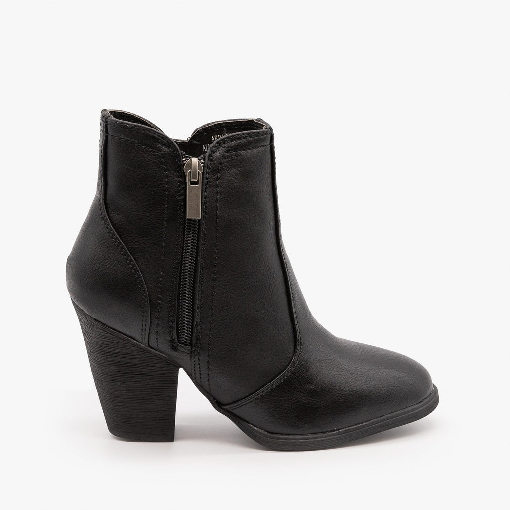Womens Timeless Heeled Booties - Dollhouse Shoes - Black / 5