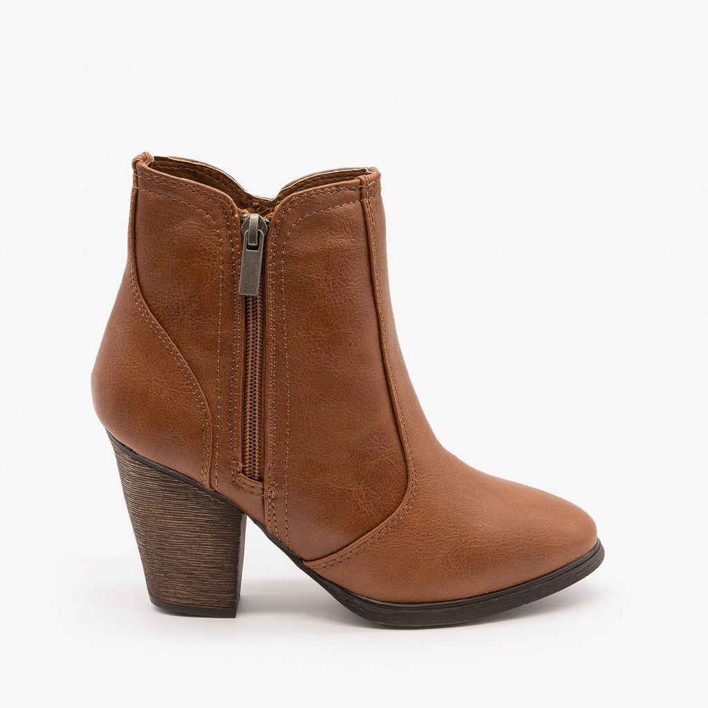 Womens Timeless Heeled Booties - Dollhouse Shoes - Chestnut / 5