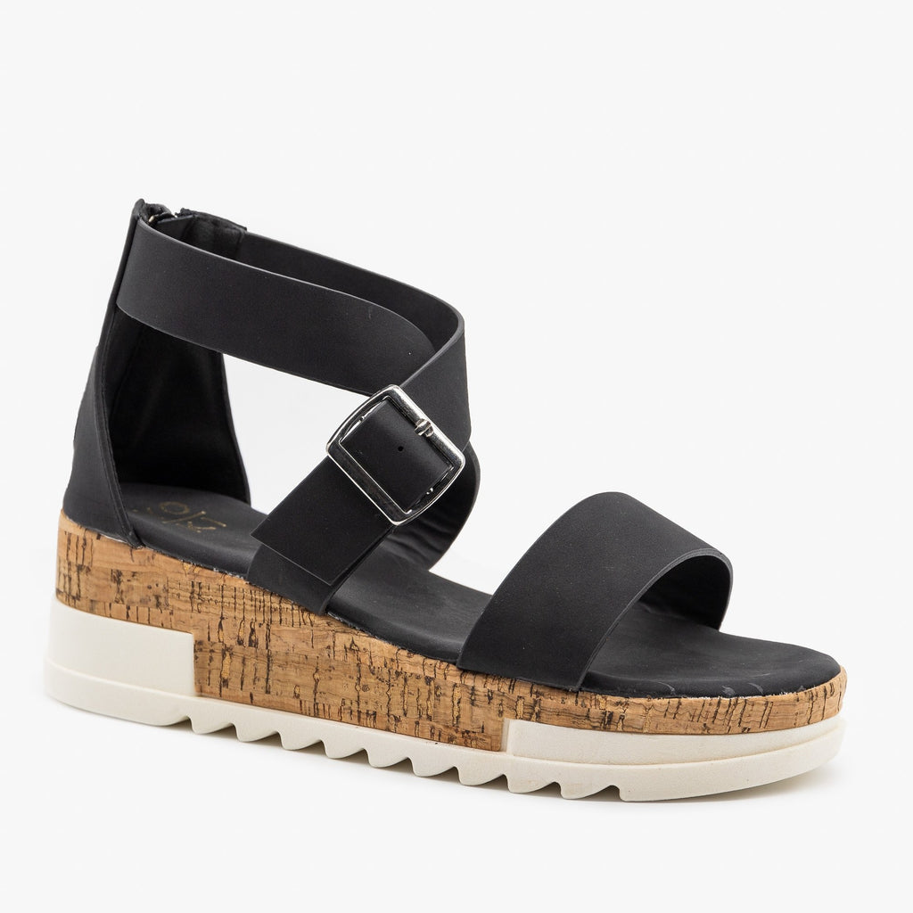Women's Treaded Chunky Cork Sandals - Yoki - Black / 5