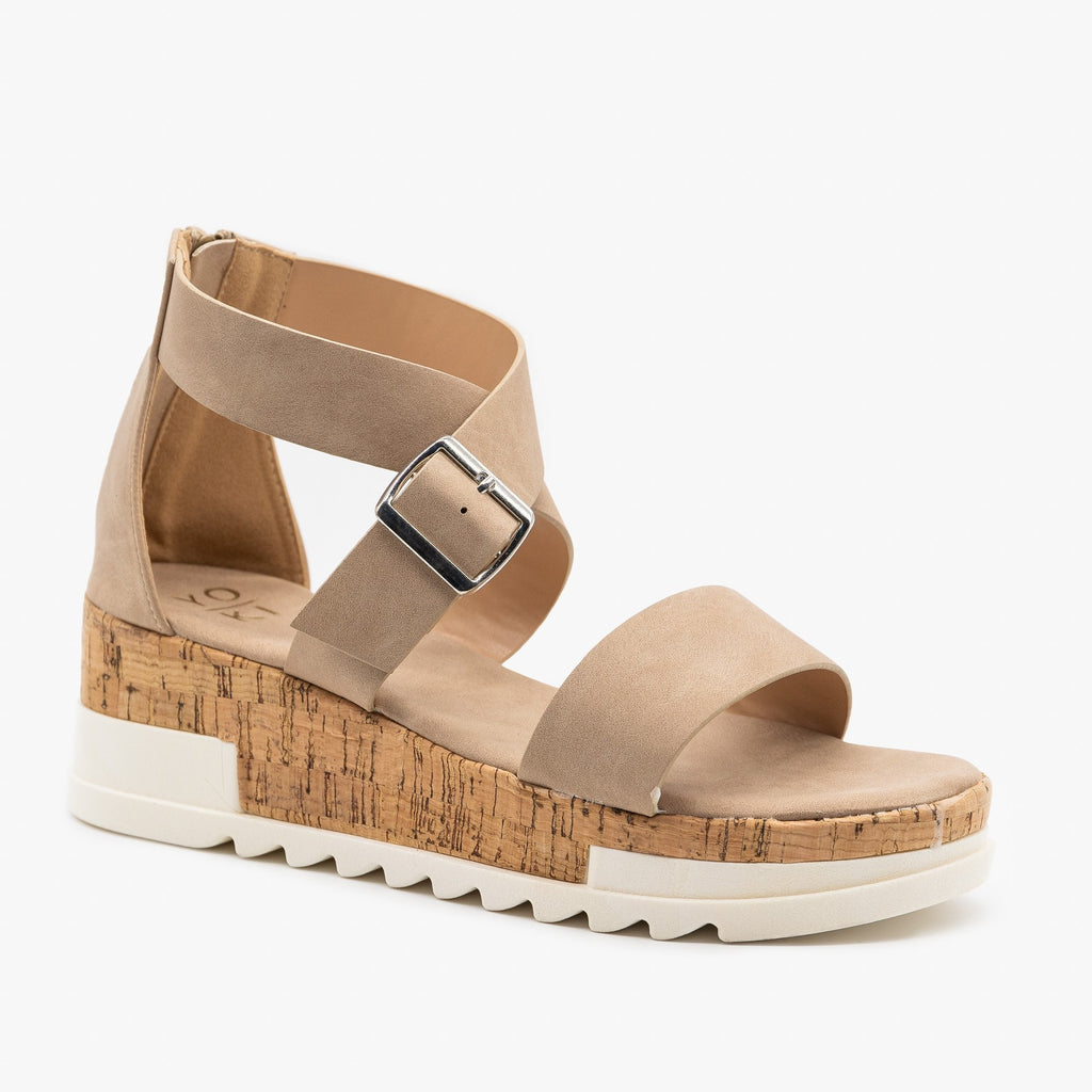 Women's Treaded Chunky Cork Sandals - Yoki - Beige / 5