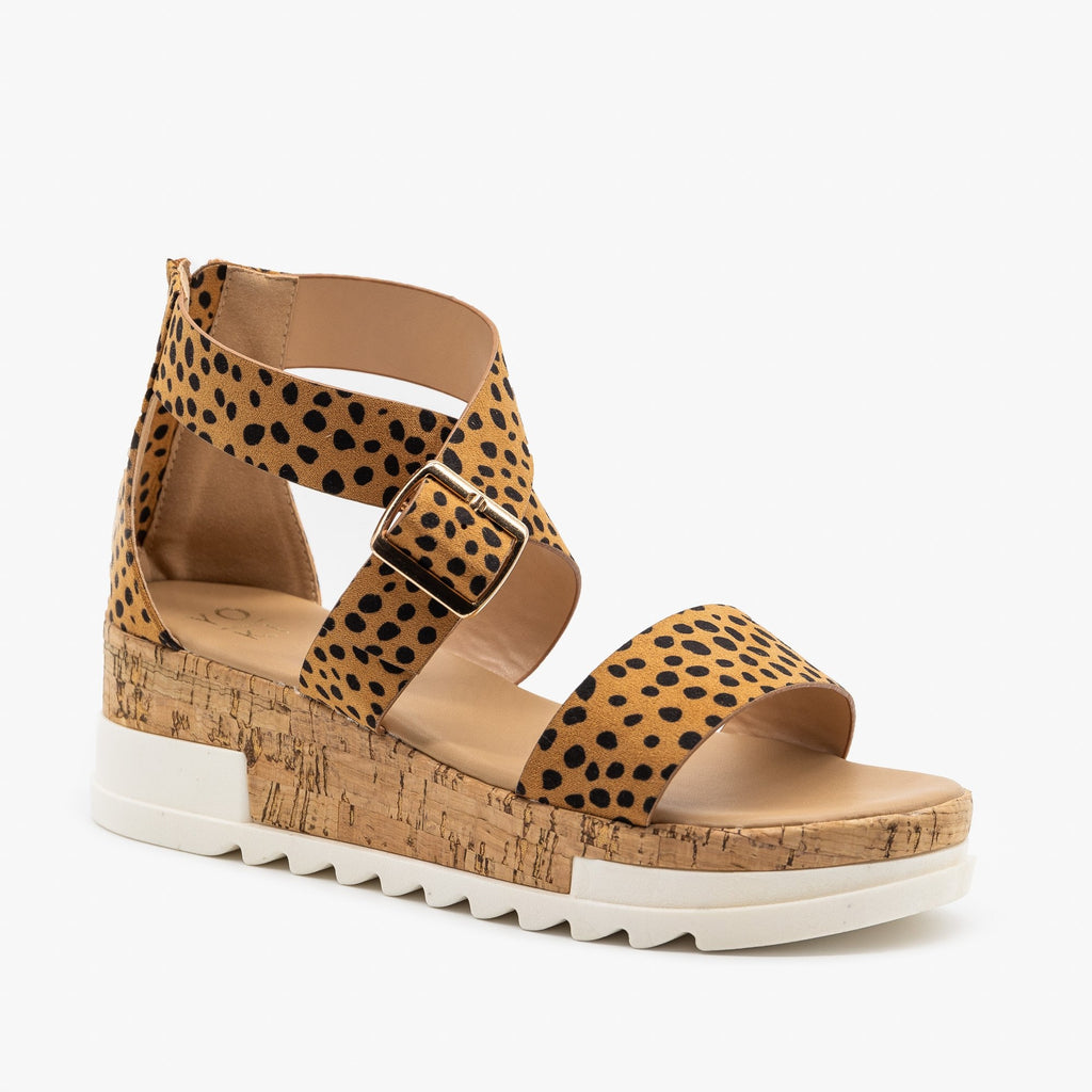 Women's Treaded Chunky Cork Sandals - Yoki - Cheetah / 5