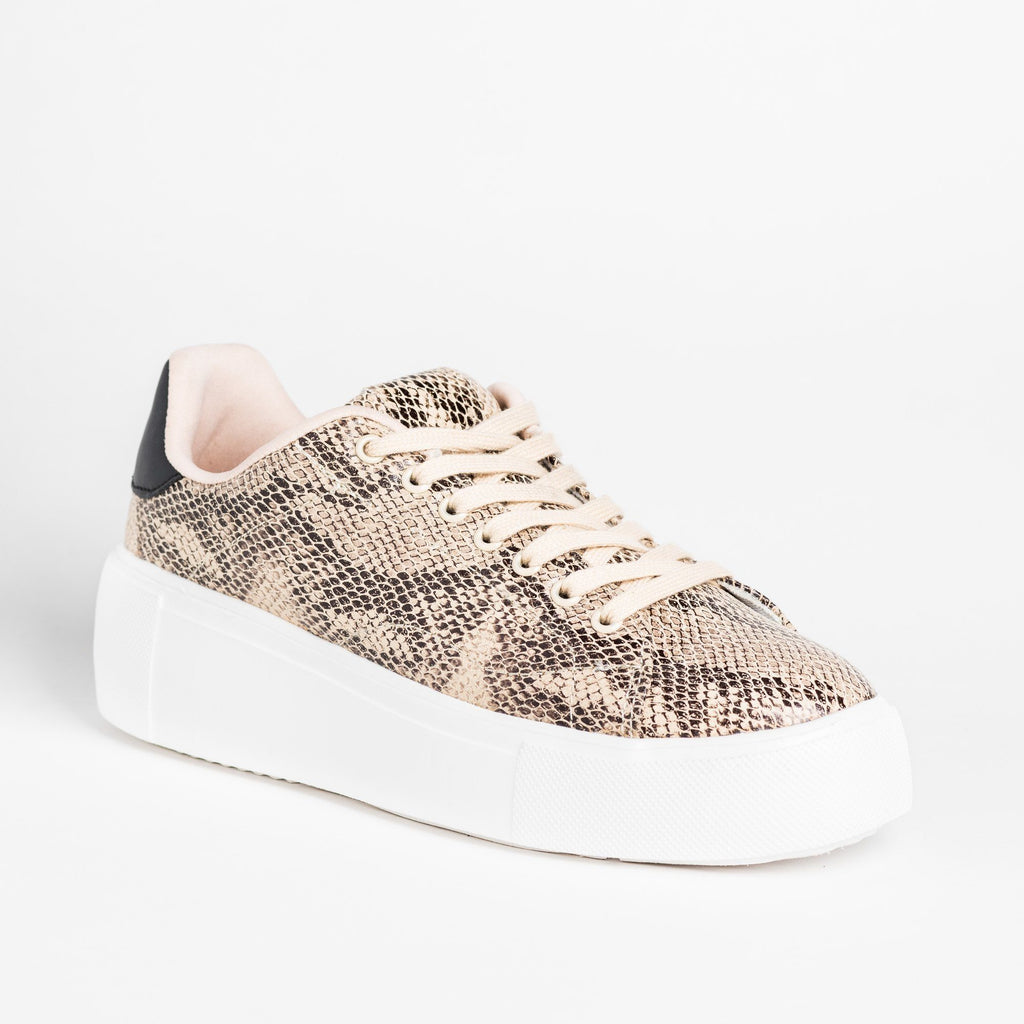 Womens Trendy Animal Print Platform Sneakers - Qupid Shoes - Beige Black Snake / 5