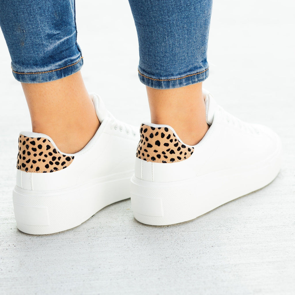 Womens Trendy Animal Print Platform Sneakers - Qupid Shoes